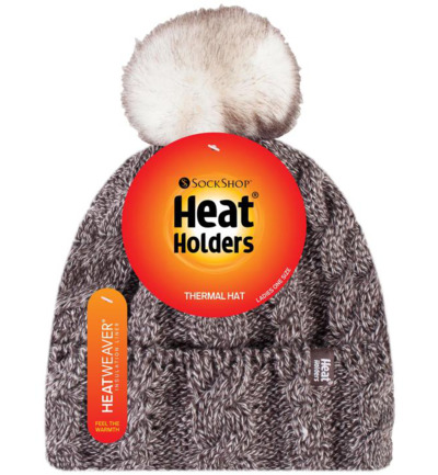 Heat Holders Ladies Turnover Cable Hat With Pom Pom Fawn (1st)